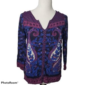 Lucky Brand The Paisley Scarf Top Size Small